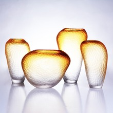 Living Room Modern Style Yellow Gradient Glass Tabletop Flower Wedding Decorative Vase Home Christmas Decoration Accessories