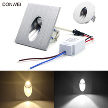 1W Round / Square Recessed LED Wall Lamp Footlight Aluminum Alloy Corner Light for Pathway Step Stair basement AC110V 220V