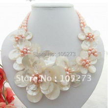 Charming ! Pink Color Freshwater Pearl & White Sea Shell Flower Necklace AA 5-8MM 19'Inchs Fashion Jewelry Free Shipping FN1980(China)
