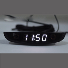LED Automotive Car Electronic Clocks WatchesThermometer Voltmeter Luminous Digital Clock white dual  temperature reverse display