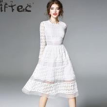 Buy 2018 Spring Women Clothing Lace Dress White /gray/black Hollow Lace Patchwork Autumn Long Sleeve O-neck Elegant Party Dress for $22.89 in AliExpress store