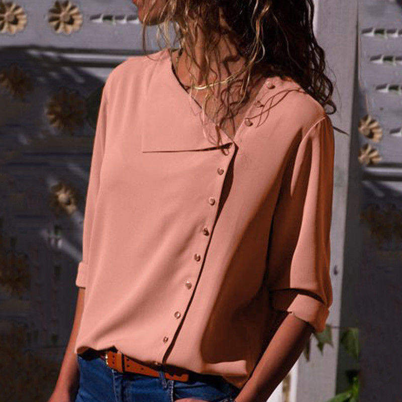 19 Autumn new women shirt chiffon irregular Turn-down collar solid color Office work White Blouse Work Wear Plus Size blouse 19
