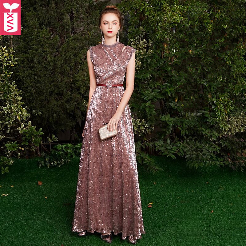 Custom High-end Luxury Noble Sequins Party Banquet Long Dresses Women Evening Formal Wedding Ball Gown Maxi Dress Have Belt