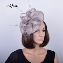 NEW DESIGN taupe grey bridal headpiece Sinamay fascinator wedding hat w/feather for Kentucky Derby,races,church,QF120(China)