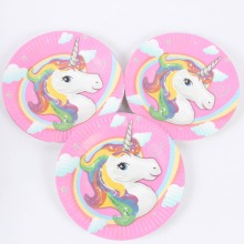 10pcs/lot Cartoon Unicorn Theme Paper Plates Birthday Wedding Party Supplies Decoration Cake Dish Disposable Baby Shower Favors(China)