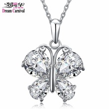 DreamCarnival 1989 Good Price Butterfly Look Pendant Necklace for Women Rhodium Gold Color CZ Jewels Super Discount Sale Collana(China)