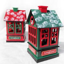 Christmas Music Box Wooden House Household Adornment Decoration Wood Crafts Crafts Christmas Children Girl Friend Gift W45