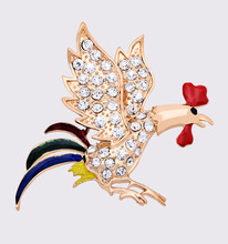 Exquisite fashion Top grade Brooch 2016 News design cock shape alloy crystal Brooch France national bird sculpt(China)