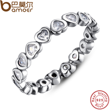 BAMOER Authentic 100% 925 Sterling Silver Love Heart Forever More Stackable Ring Clear CZ Jewelry New Year Presents PA7124