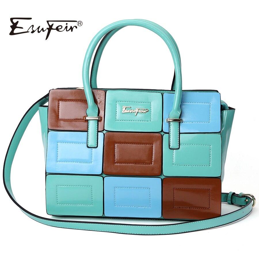 ESUFEIR Brand Panelled PU Leather Women Handbag Multicolor Patchwork Shoulder Bag Women Bag Classic Tote Female Crossbody Bag<br>