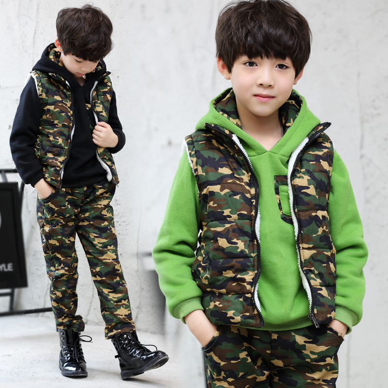4-14 Years Baby Teenager Boy Winter Thick Camouflage 3 Piece Suit Hooded Jacket Sets Green Black Big Boys Thickening Warm Suit<br>