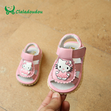 Claladoudou 11.5-13.5CM Baby Girl Sandals Genuine Leather Toddler Girls Sandals Noise Kitty Cat Infant Kids Girl Shoes White