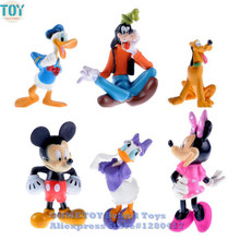 OHMETOY 6PCS Mickey Mouse Toys Clubhouse Minnie Donald Duck Mini Cartoon 6-7cm Action Figure Model Kids Gift Cake Toppers