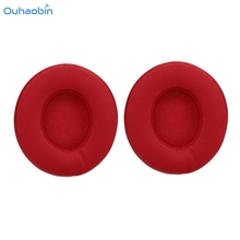 Ouhaobin Popular Replace Red Ear Pads Cushions Leather for Beats By Dre Solo3 Solo 3.0 Headphones Ear Covers Earpads Sep1(China)