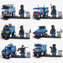 Riot Special Forces Tactics City SWAT Armored Vehicle Police Car Jeep Model Building Block Toy Kazi KY84032