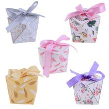 50pcs Octagonal Bowknot DIY Paper Candy Cookie Gift Box Valentines Day Wedding Favors Party Candy Box with Ribbon(China)
