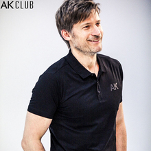 AK CLUB Men Polo Nikolaj Coster-Waldau Advertised Mercerized Cotton Polo Shirt Short Sleeve Solid Polos Brand AK Print 1716004