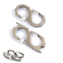 1 pc Survival Camping Mini Carabiner Keychain with Opener EDC Multi Function Tool camp sporting goods Hot