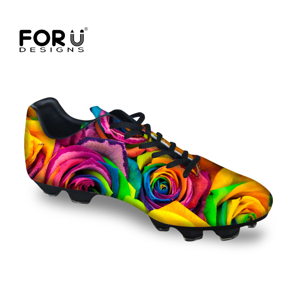 FORUDESIGNS Trendy Men BreathableFootball Shoes Rose Waterproof Boots for Teenagers Boys Outdoor Lawn Cleats Shoes<br>