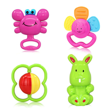 4PCS Baby HandBell Rattles Crib Coloring Toys 0-24 Month Stroller Hanging Juguetes Tiny Love Toys For Infant Baby Kids