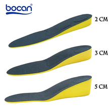 BOCAN Height increase insoles for men/women 2/3/5 cm up arch support orthopedic insoles shock absorption blue/black color(China)