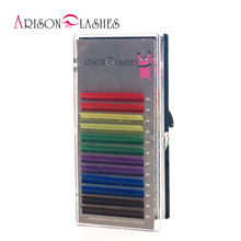 Arison 12Rows/Set 6 Colors Natural False Eyelash Extension Mixed Rainbow 0.1mm Color lash Makeup free shipping(China)