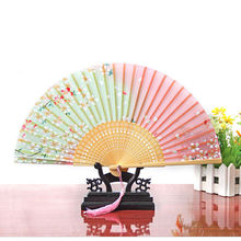 Hot Sale Party Supplies Japan Dance Fan Pink and Green Cherry Blossom Pattern Lace Bamboo Handheld Folding Fans(China)