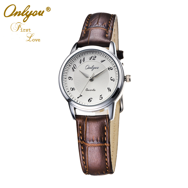 Onlyou Brand Fashion Casual Men Women Lovers Watches Boys Girls Quartz Watch Leather Business Black Wristwatches 8818<br>