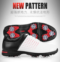 microfiber leather breathable waterproof patent men sport shoes activities nail anti-skid good grip resistant golf shoes(China)