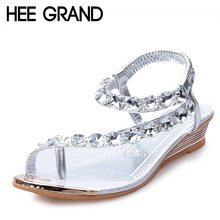 HEE GRAND Women Summer Sandals Blingbling Crystal Platform Wedges Shoes Woman Golden Sliver Slip On Flip Flops Size 35-40 XWZ791