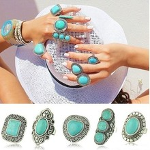 European and American Retro turquoise Jewelry Tibetan Silver Turquoise Rings with Size Resizable Free Shipping