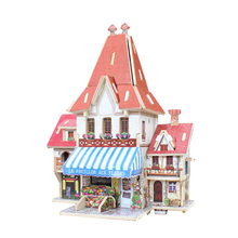 Sale Children 3D Puzzle Toy DIY Wooden houses model Baby Toys for Kids early educational toy game GP267(China)