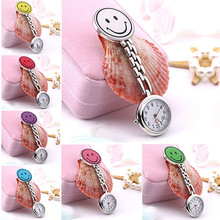 Women's Butterfly Smile Face Quartz Clip-On Brooch Nurse Hanging Pocket Watch Cute Colorful Female Clock Montre Femme Reloj 2017