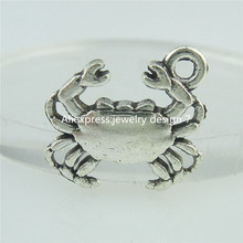 Free shipping (40pieces/lot)15236 Alloy Antique Silver Vintage Mini Animal Crab Cancer Pendant Charm