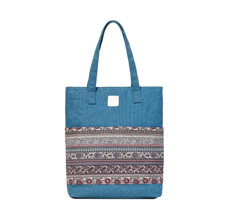 Canvasartisan Brand new canvas women handbags floral vintage female shopping shoulder bag zipper closure tote hand bags 12