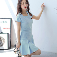 Buy Korean Summer Dress Women Clothing bodycon dress show thin short sleeve patchwork black dress fashion girl Vestidos for $10.40 in AliExpress store