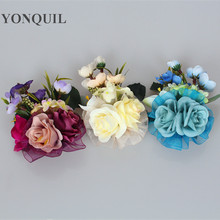 Free shipping multiple colors 12cm Silk Flower for millinery/sinamay hat/church hat/bridal fascinator with brooch pin hair clip(China)