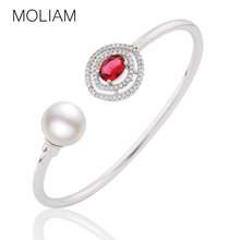 MOLIAM Fashion Open Cuff Bangles for Women Silver Color Crystal Zirconia Simulated Pearl Bangle Girlfriend Gift MLZ044