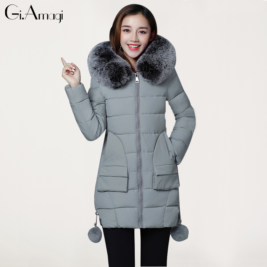 Winter Fur Hood Coat Jackets 2017 Women Parka Jacket Female MediumLong thich warm Women Cotton Jacket Abrigos MujerÎäåæäà è àêñåññóàðû<br><br>