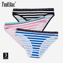 Buy FUNCILAC Women Sexy Briefs Striped Underwear Fashion Ladies Panties Cotton Crotch Knickers Female Lingerie 3pcs/lot
