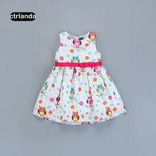 baby dress girl princess dresses children girls summer sleeveless cotton dresses bird printed good quality kids party clothes