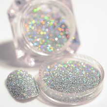 2G 1Box Black Sliver Holographic Glitter Laser Powder Gorgeous Manicure Nail Art Glitter Dust Powder Shiny Glitter Dust Pigments
