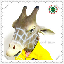 Free shipping Halloween Mascaras Animal Cosplay Horse Mask Realistic Glass Eye Costume Giraffe Mask For Carnival mask(China)