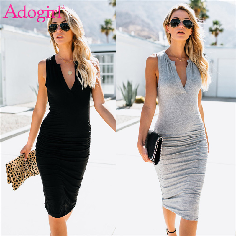 Adogirl Women Sexy Midi Bodycon Dress V Neck Sleeveless Sheath Bandage Club Party Dresses Summer Office Lady Business Work Wear
