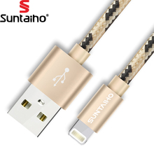 Suntaiho Nylon Lighting USB Cable Fast Charging Mobile Phone Cable 0.5m/1.2m/2m/3m USB Data Cables for iPhone X 8 7 6 5(China)