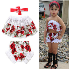 2017 Cool Summer Sea Beach Party Girl Dress lacework Floral Print T-shirt+shorts+headband 3pcs For 0-5Y Girls Clothing Set