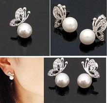 Quality Ladies Womens Lovely Pearl Rhinestone Butterfly Design Earrings Ear Stud Ear jewelry Free Shipping C29