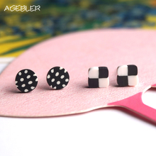 2 Pairs/lot Stud Earings for Women Men Jewelry Handmade White Mixed Black Circle Earrings Fashion Girls Casual Brinco P18
