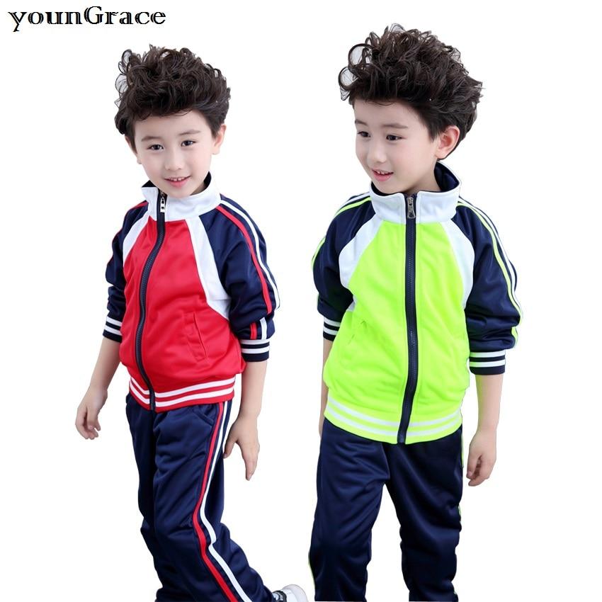 New 2017 School Uniform for Boys Brand Design 3-16T Boys Autumn/Winter Sports Clothing Set Kids Zipper Baseball Tracksuit, C261<br><br>Aliexpress