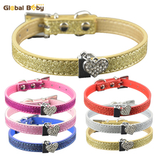 Brand High Quality Bling Pu Leather Dog Pet Cat Collar Necklace with Crystal Heart Charm(China)